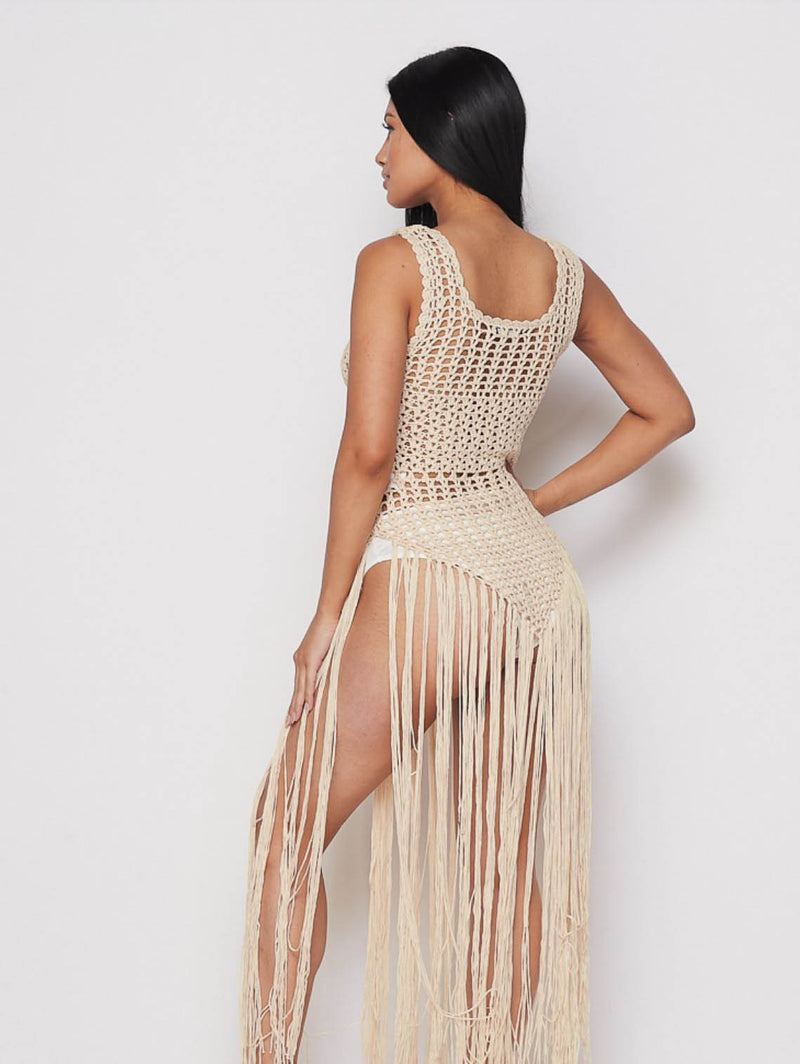 Beige All Meshed Up Crochet Dress - Sixteen Bars