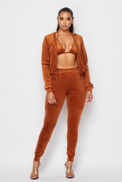 Trendsetter 3pc Velour Set - Camel