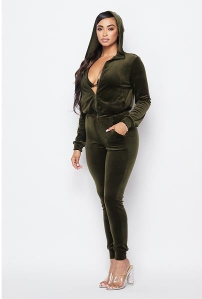Kill 'em 3pc Velour Set - Olive