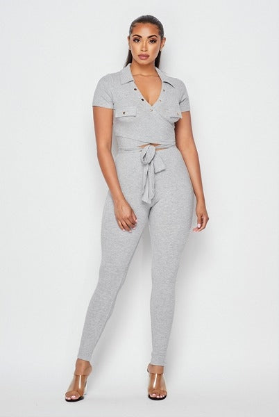 Ava Ribbed Knit Leggings Set - Grey