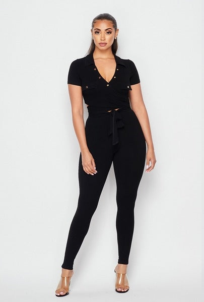 Ava Ribbed Knit Leggings Set - Black