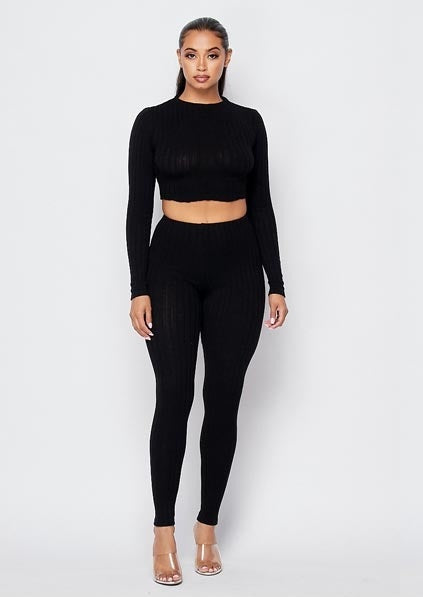 Bring the Heat Cable Knit Leggings Set