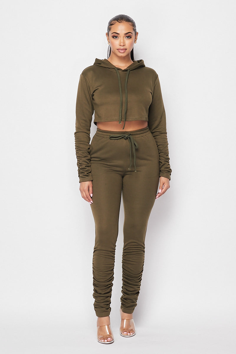 Keep Ya Head Up Ruched Jogger Set W/ Ruched Sleeves And Leg Detail - Olive