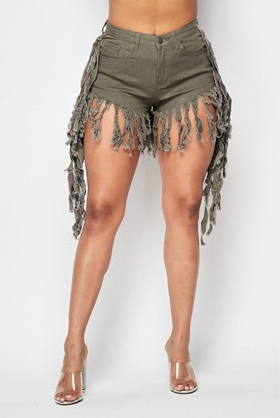 Be Free Fringe Denim Shorts - Olive