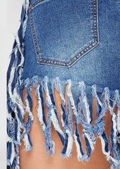 Be Free Fringe Denim Shorts - Dk Blue