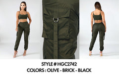 Comfy Cargo Jogger Crop Top Set - Olive