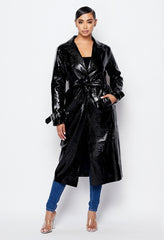 Girls Night PU Leather Long Coat