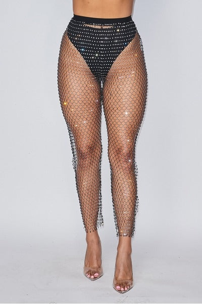 Diamond Rhinestone Fishnet Pants - Black