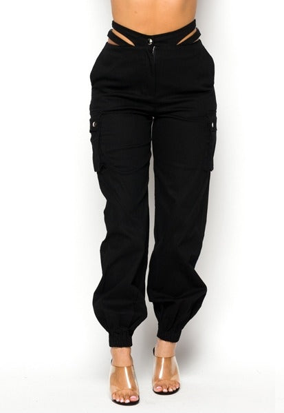 Stay Strapped Cargo Pants - Black
