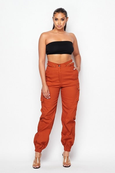 Stay Strapped Cargo Pants - Brick