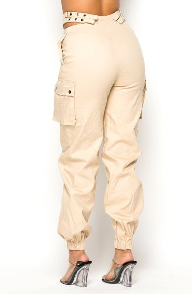 Stay Strapped Cargo Pants - Taupe