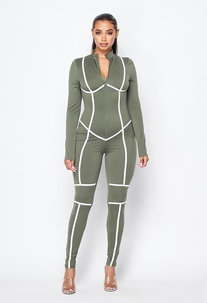 Here To Win Piping Jumpsuit - Olive