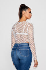 Pearls of Wisdom LS Crop Top - White