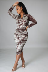 Brown Make An Impression Ruched Dress