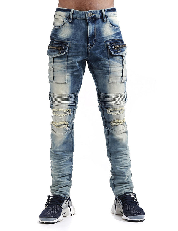 Smoke Rise -Ceil Blue Moto Cargo Biker Denim - Sixteen Bars