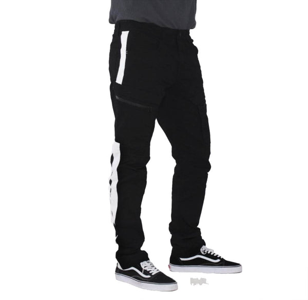 Smoke Rise - Black w/White Stripe Cargo Pants - Sixteen Bars