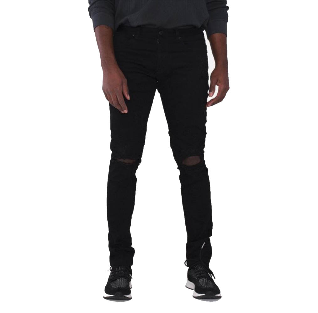 Smoke Rise  - Jet Black Open Knee Distressed Denim - Sixteen Bars