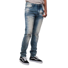 Smoke Rise - Tea Blue Open Knee Distressed Denim - Sixteen Bars
