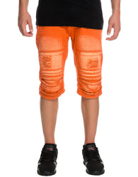 Smoke Rise - Orange Twill Ripped and Destroyed Shorts