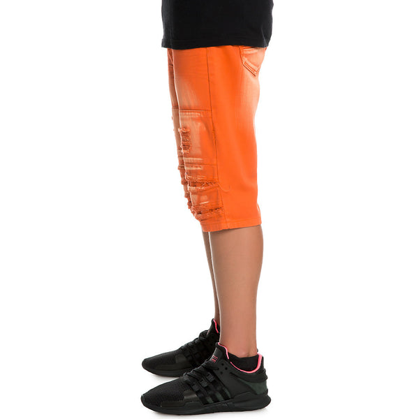 Smoke Rise - Orange Twill Ripped and Destroyed Shorts - Sixteen Bars