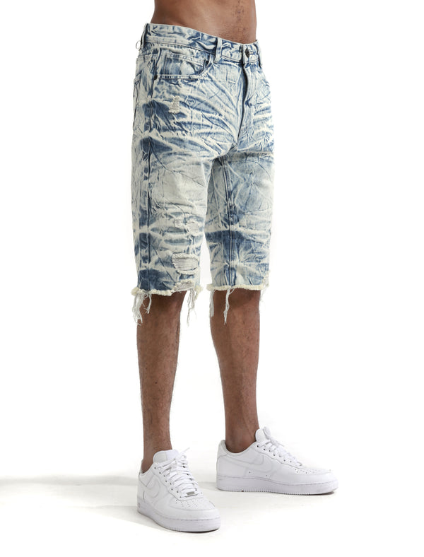 Smoke Rise - Glacier Blue Basic Distressed Denim Short - Sixteen Bars