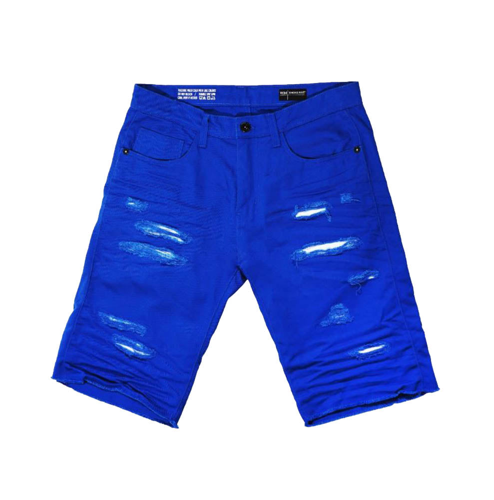 Smoke Rise - Royal Blue Distressed Twill Shorts - Sixteen Bars
