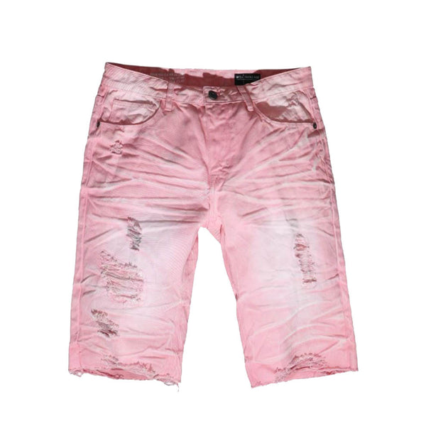 Smoke Rise - Blush Acid Wash Denim Shorts - Sixteen Bars