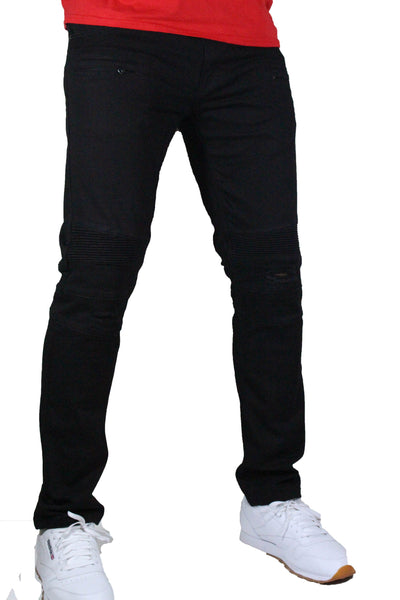 Kilogram - Slim Fit Jet Black Split Knee Biker Denim - Sixteen Bars