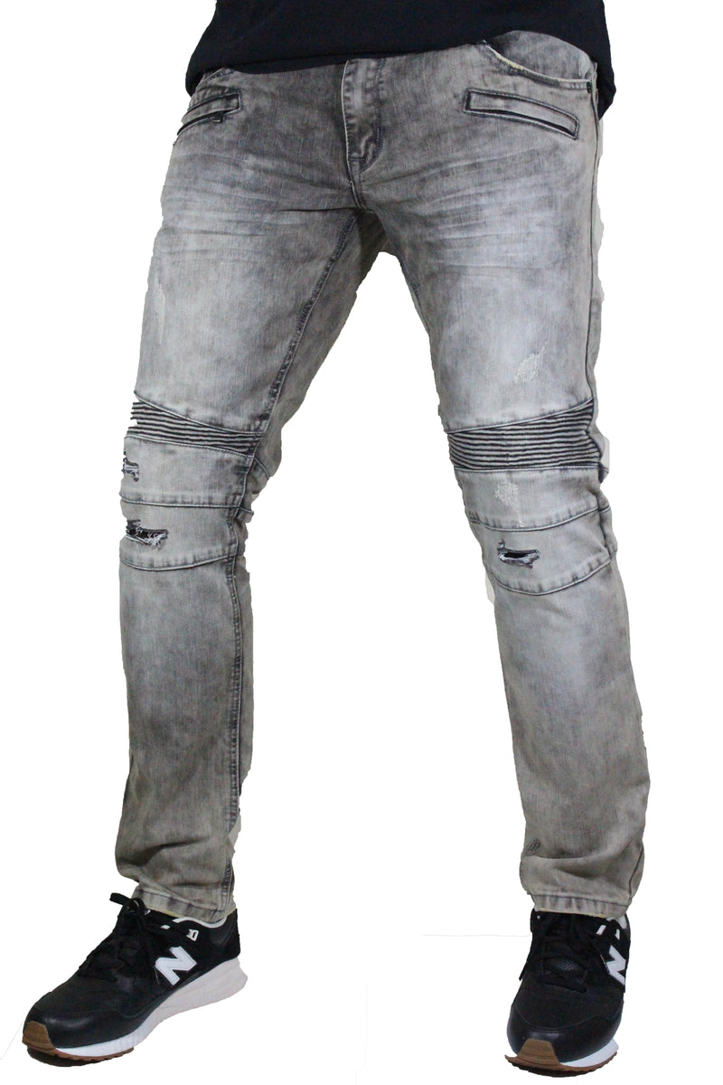 Kilogram - Slim Fit Grey Split Knee Biker Denim - Sixteen Bars