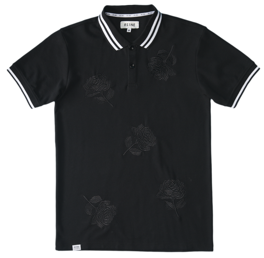 RS1NE - Black Large Rose Embroidery Polo - Sixteen Bars