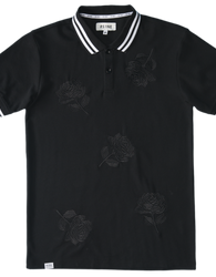 RS1NE - Black Large Rose Embroidery Polo