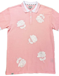 RS1NE - Pink Large Rose Embroidery Polo