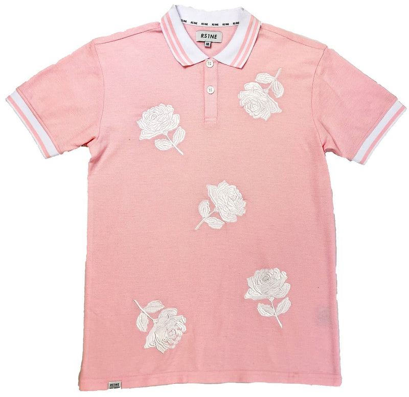 RS1NE - Pink Large Rose Embroidery Polo - Sixteen Bars