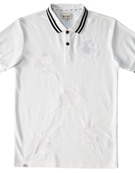 RS1NE - White Large Rose Embroidery Polo