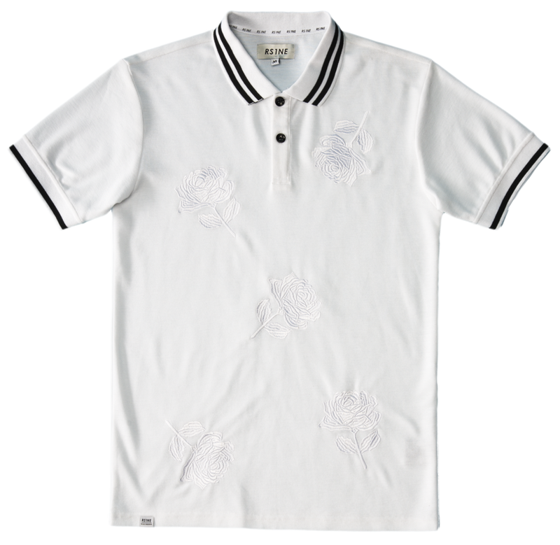RS1NE - White Large Rose Embroidery Polo - Sixteen Bars