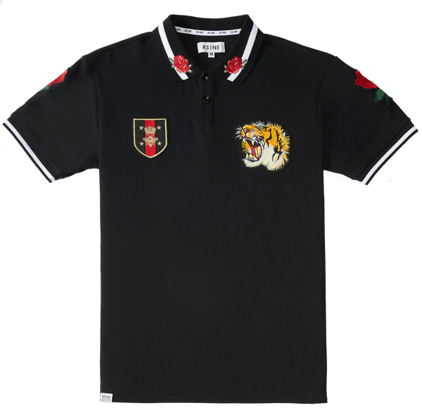 RS1NE - Black Tiger Rose Polo - Sixteen Bars