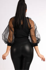 Black Organza Bodysuit - Sixteen Bars