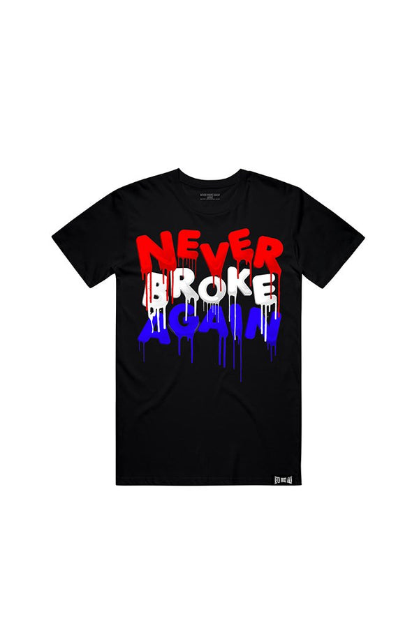 Never Broke Again - Black July 4th Drip Colors T-Shirt - Sixteen Bars