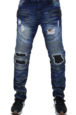 KLOUD9 - Distressed PU Backed Moto Biker Denim - Sixteen Bars
