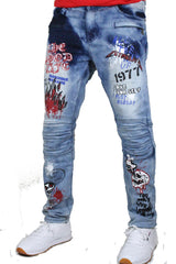 Kloud9 - Light Blue Graffiti Biker Denim - Sixteen Bars