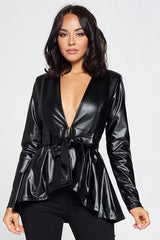 Royalty Pu Peplum Jacket