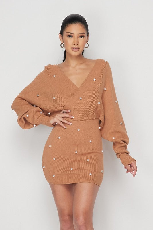 Hazelnut Pearl Sweater Dress - Sixteen Bars