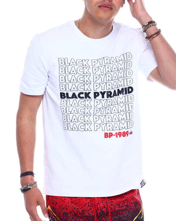 Black Pyramid - White Repeat Tee - Sixteen Bars