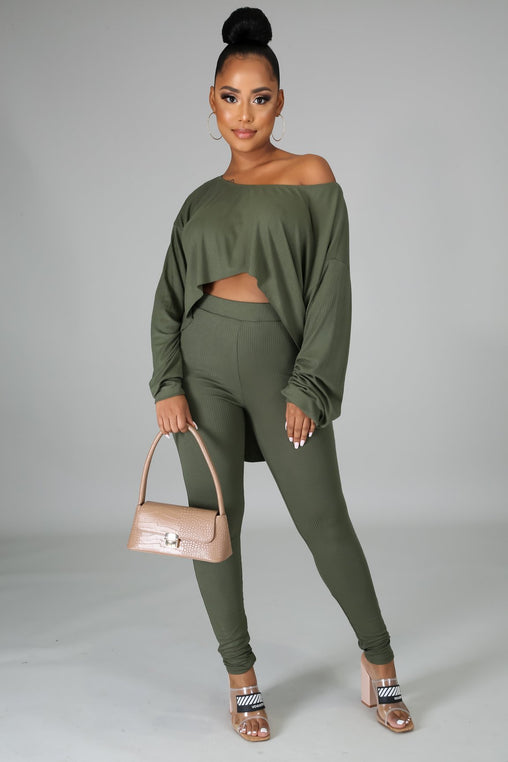 Soft Like Me Pant Set - Olive