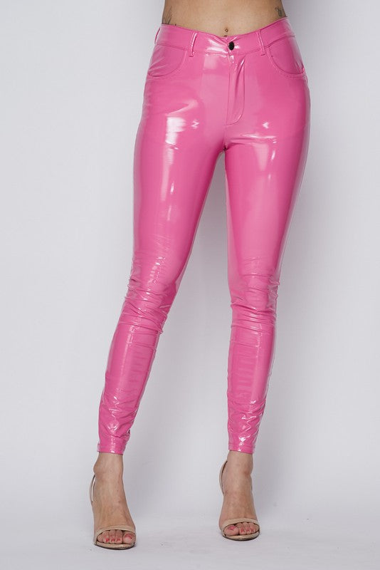 Shake Your Love Latex Shiny Pants - PINK - Sixteen Bars