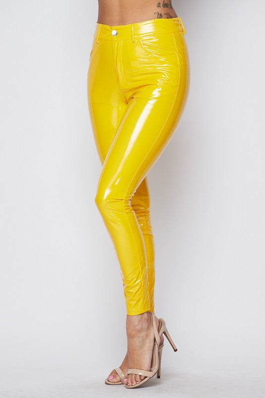 Shake Your Love Latex Shiny Pants - YELLOW - Sixteen Bars