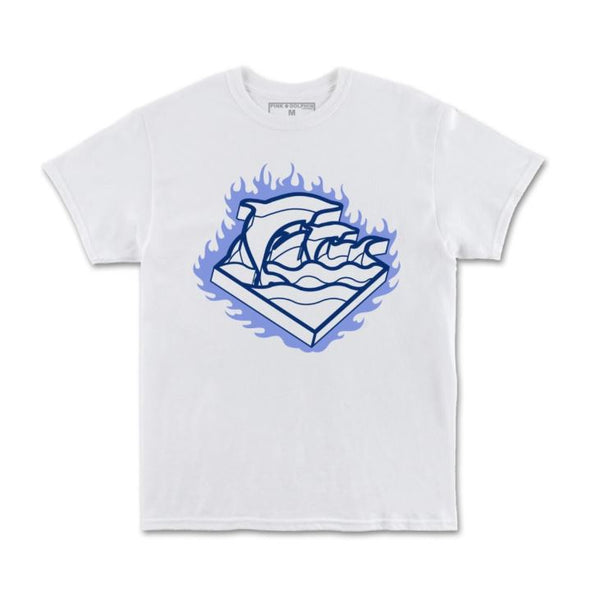 Pink Dolphin - White Slow Burn Tee - Sixteen Bars