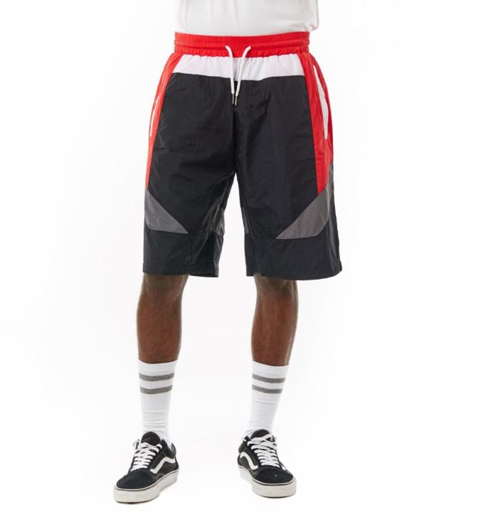 Smoke Rise - Nylon Color Block Shorts -  Black