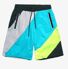 Smoke Rise - Striped Nylon Color Block Shorts - Teal