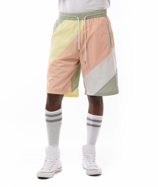 Smoke Rise - Striped Nylon Color Block Shorts -  Washed Coral